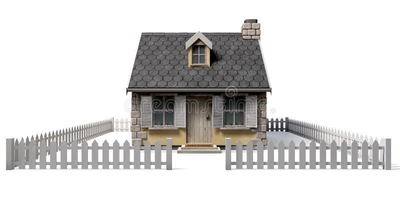 Περίεργο σπίτι εξοχικών σπιτιών με τη φραγή κήπων και στύλων απεικόνιση αποθεμάτων