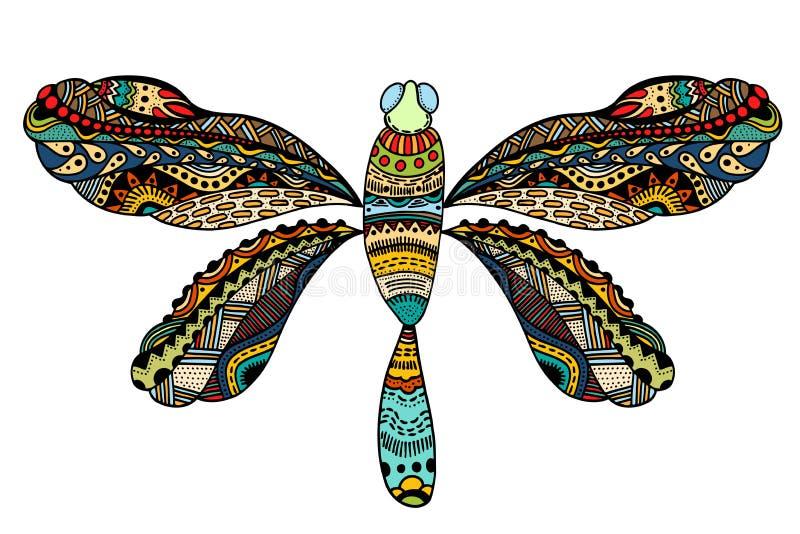 Περίκομψη λιβελλούλη zentangle διανυσματική απεικόνιση