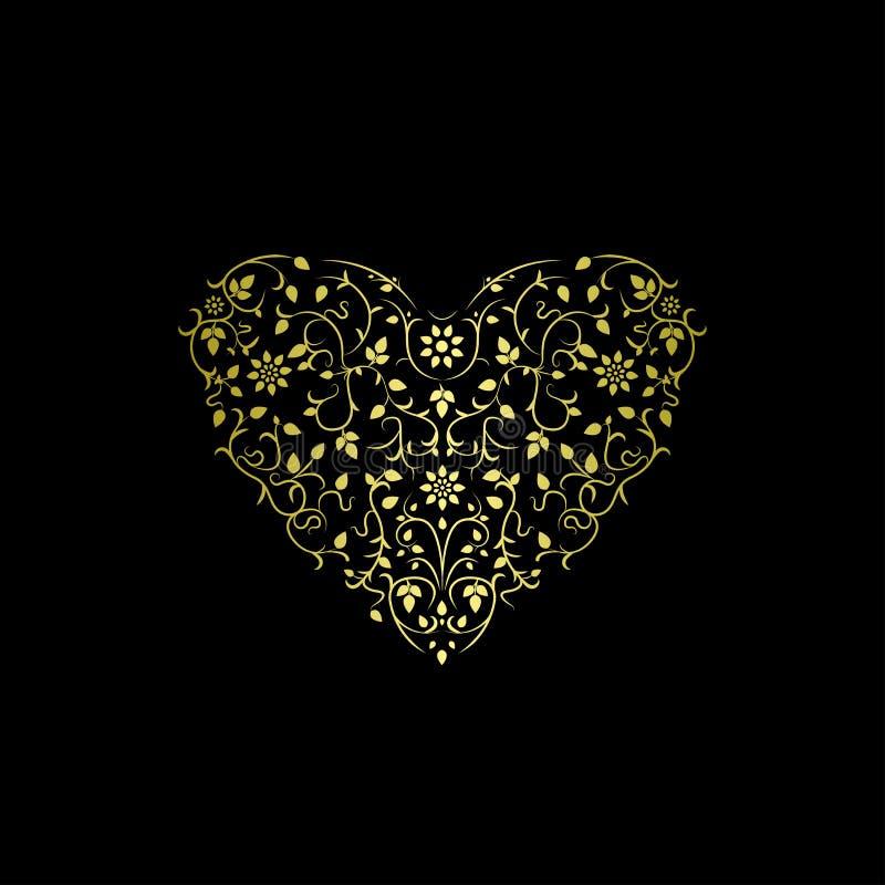 Περίκομψη καρδιά πολυτέλειας Floral χρυσό σχέδιο διανυσματική απεικόνιση