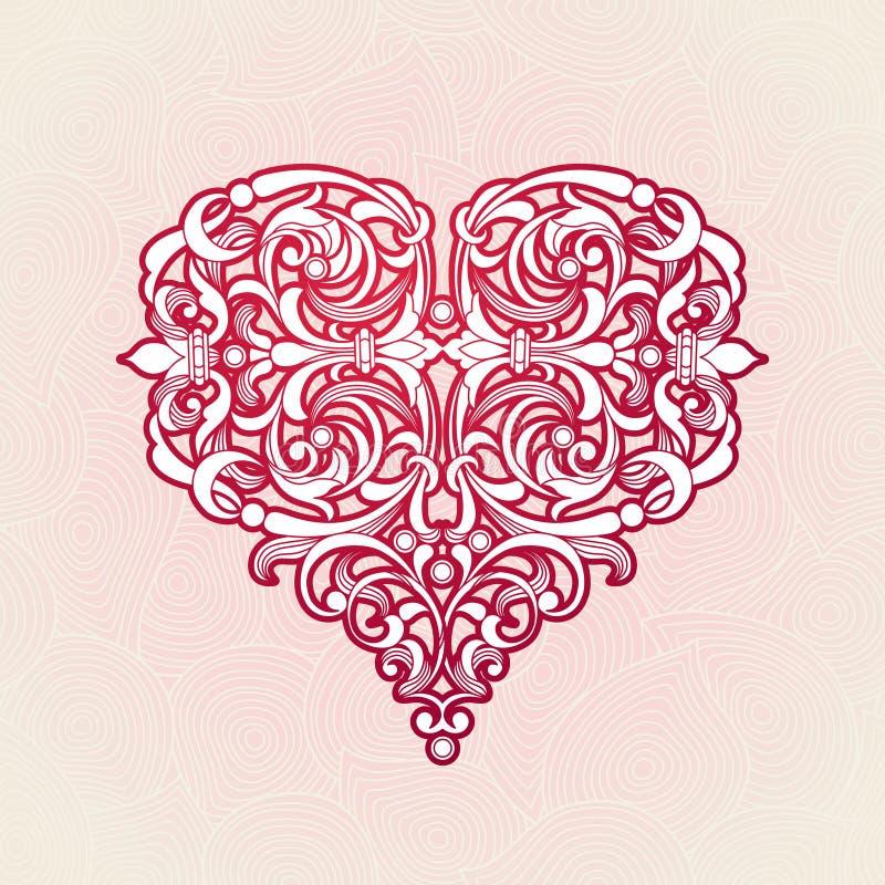 Περίκομψη κόκκινη καρδιά στο βικτοριανό ύφος διανυσματική απεικόνιση