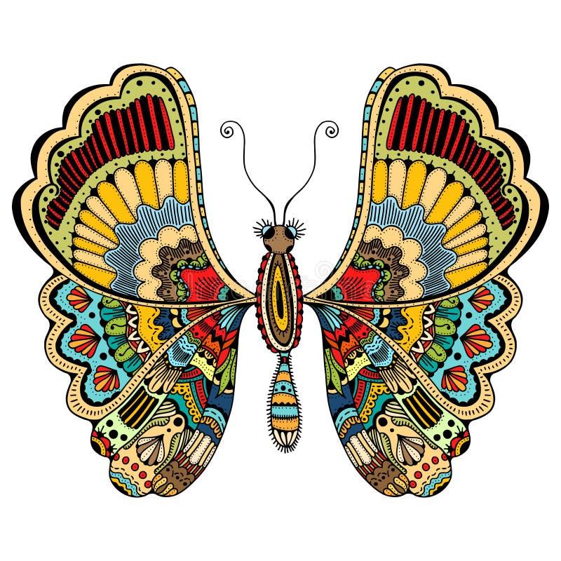 Περίκομψη πεταλούδα zentangle διανυσματική απεικόνιση