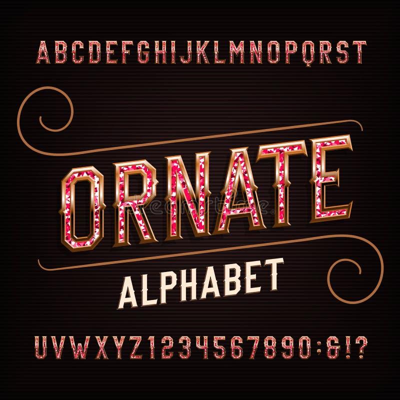 Περίκομψη πηγή αλφάβητου με τους πολύτιμους λίθους Εκλεκτής ποιότητας χρυσοί επιστολές και αριθμοί ελεύθερη απεικόνιση δικαιώματος