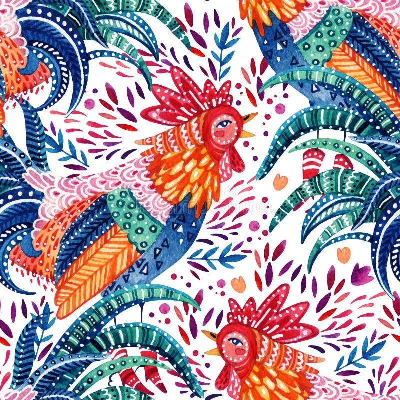 Περίκομψος κόκκορας Watercolor και χαριτωμένα περίκομψα floral στοιχεία στο άσπρο υπόβαθρο διανυσματική απεικόνιση