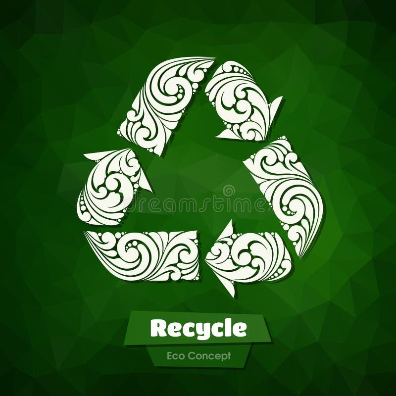 Περίκομψο ανακύκλωσης σύμβολο διανυσματική απεικόνιση