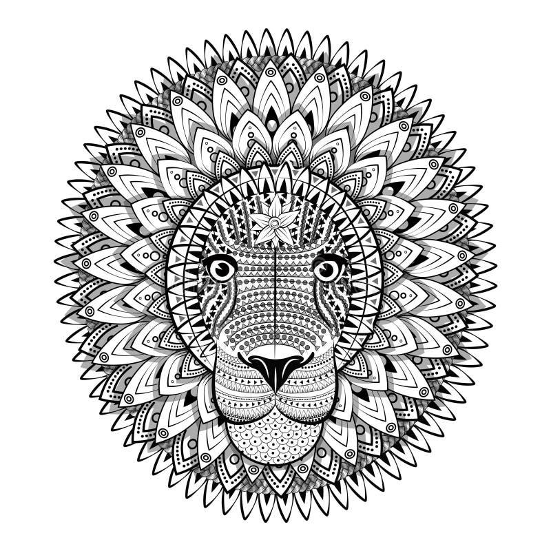 Περίκομψο λιοντάρι Zentangle Διανυσματική απεικόνιση σκίτσων δερματοστιξιών διανυσματική απεικόνιση