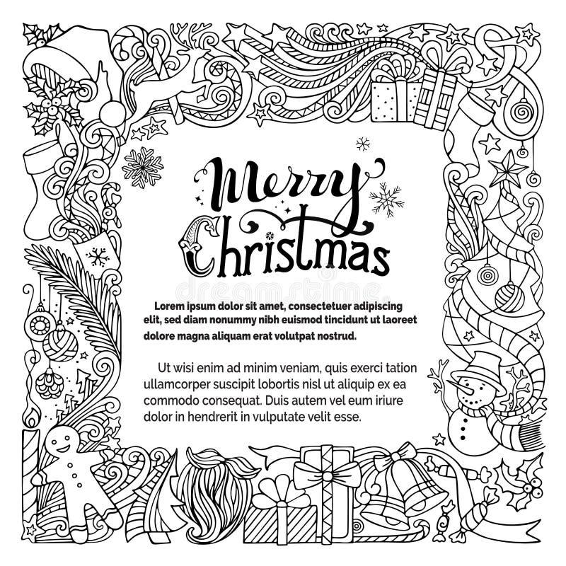 Download Περίκομψο πλαίσιο Χαρούμενα Χριστούγεννας Doodles Διανυσματική απεικόνιση - εικονογραφία από γραμμικός, καπέλο: 62720030
