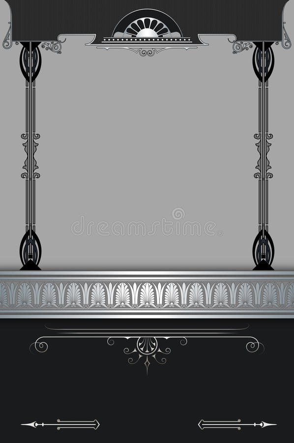 Περίκομψο υπόβαθρο με τα διακοσμητικές σύνορα και τη διακόσμηση διανυσματική απεικόνιση