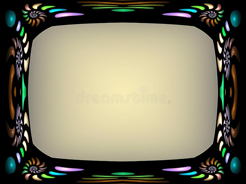 Περίκομψο fractal πλαίσιο με το πλαίσιο χρώματος ελεύθερη απεικόνιση δικαιώματος