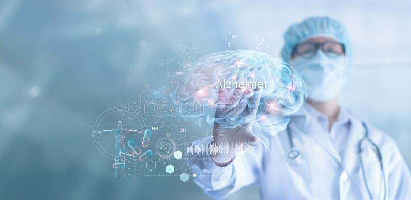 Περίληψη, ασθένεια του Alzheimer ελέγχου γιατρών και ανάλυσης και άνοια του εγκεφάλου, εξεταστικό αποτέλεσμα στην εικονική διεπαφ στοκ εικόνες