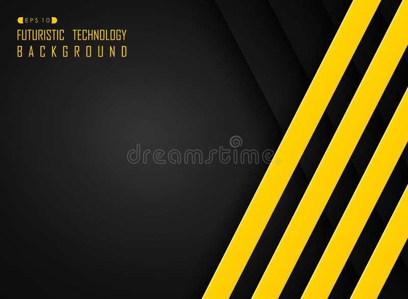 Περίληψη γραμμών σχεδίων γεια τεχνολογίας του φουτουριστικού υποβάθρου χρώματος τεχνολογίας μαύρου και κίτρινου ελεύθερη απεικόνιση δικαιώματος