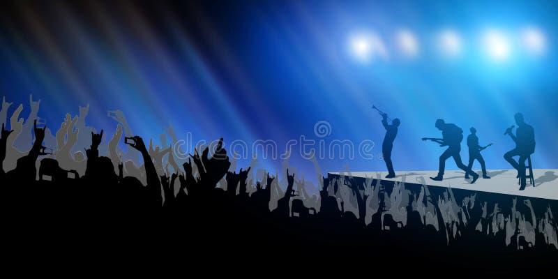 Περίληψη κόμματος πλήθους συναυλίας και φεστιβάλ ζωνών μουσικής στο ανοικτό μπλε υπόβαθρο ελεύθερη απεικόνιση δικαιώματος