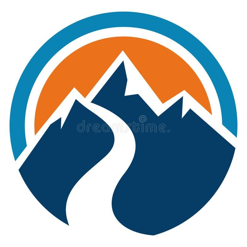 Περίληψη κύκλων βουνών και ήλιων διανυσματική απεικόνιση