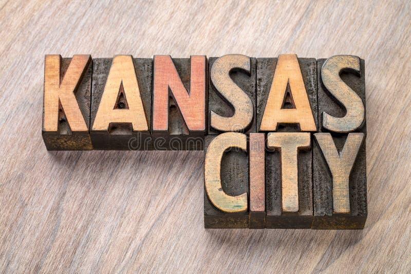 Περίληψη λέξης πόλεων του Κάνσας letterpress στον ξύλινο τύπο στοκ εικόνα