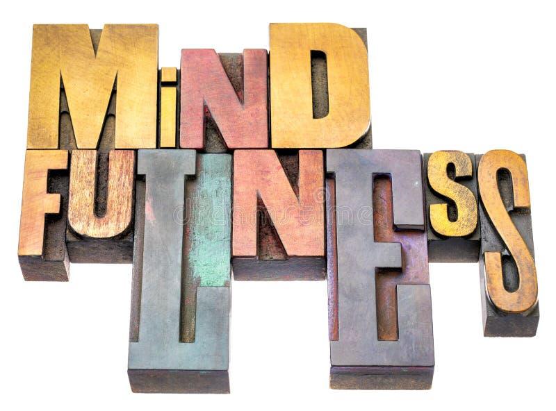 Περίληψη λέξης Mindfulness letterpress στον ξύλινο τύπο στοκ φωτογραφία με δικαίωμα ελεύθερης χρήσης
