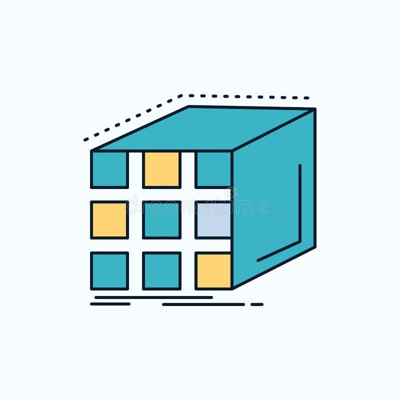 Περίληψη, συνάθροιση, κύβος, διαστατικός, επίπεδο εικονίδιο μητρών r διανυσματική απεικόνιση
