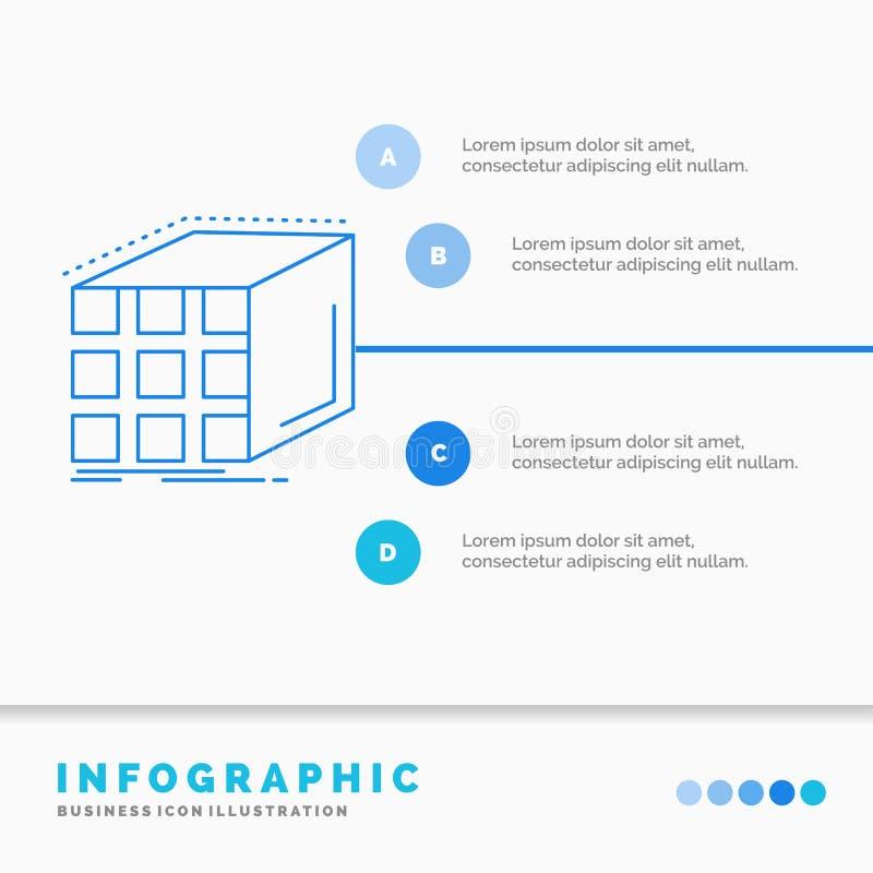 Περίληψη, συνάθροιση, κύβος, διαστατικό, πρότυπο Infographics μητρών για τον ιστοχώρο και παρουσίαση Μπλε εικονίδιο γραμμών infog διανυσματική απεικόνιση