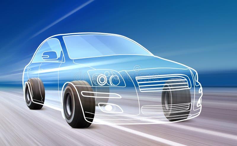 Περίληψη του αυτοκινήτου στο δρόμο απεικόνιση αποθεμάτων