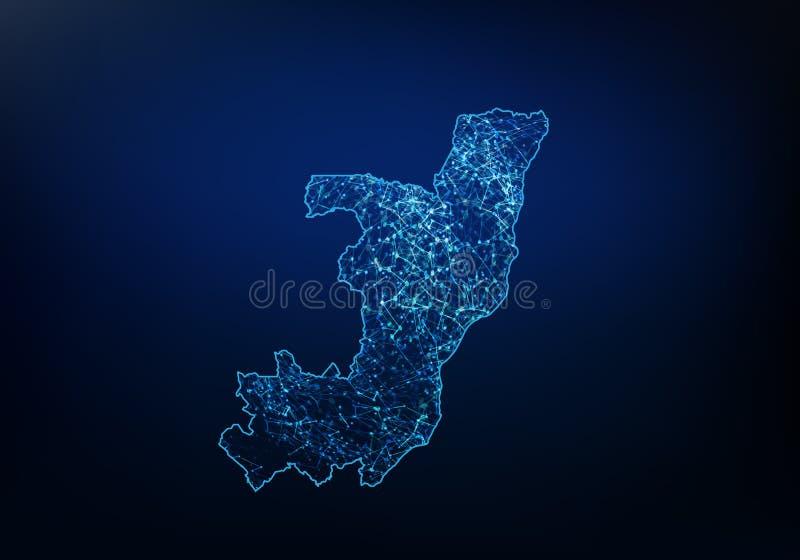 Περίληψη του δικτύου χαρτών του Κογκό, Διαδικτύου και της σφαιρικής έννοιας σύνδεσης, καλωδίων πλαισίων τρισδιάστατη γραμμή δικτύ ελεύθερη απεικόνιση δικαιώματος