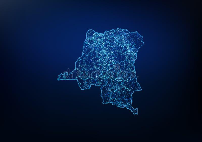 Περίληψη του ΔΡ του Κογκό δίκτυο χαρτών, Διαδίκτυο και σφαιρική έννοια σύνδεσης, καλωδίων πλαισίων τρισδιάστατη γραμμή δικτύων πλ απεικόνιση αποθεμάτων