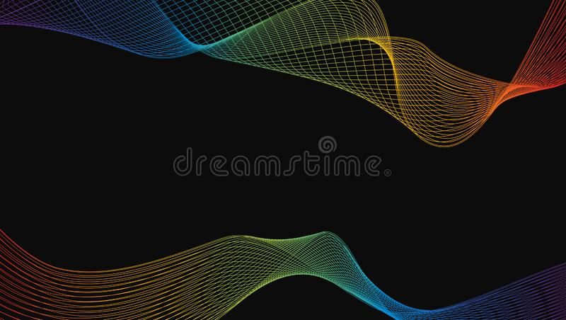 Περίληψη του λαμπρού στοιχείου σχεδίου τέχνης γραμμών κυμάτων πολυτέλειας ουράνιων τόξων απεικόνιση αποθεμάτων