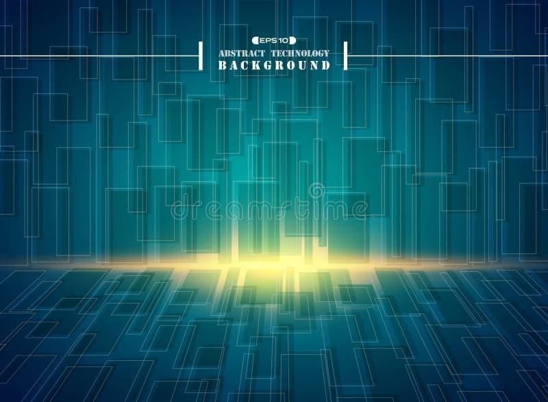 Περίληψη του φουτουριστικού γεια υποβάθρου σχεδίων τεχνολογίας μπλε τετραγωνικού γεωμετρικού διανυσματική απεικόνιση