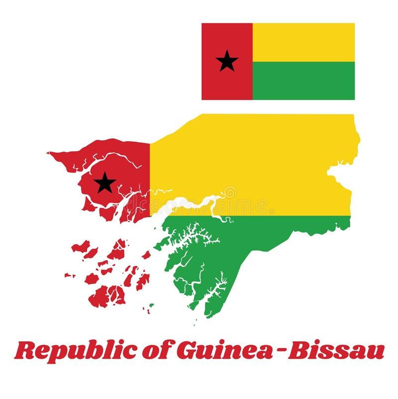 Περίληψη χαρτών και σημαία της Γουινέα-Μπισσάου, μια κάθετη κόκκινη γραμμή από την πλευρά ανελκυστήρων που χρεώνεται με ένα μαύρο απεικόνιση αποθεμάτων