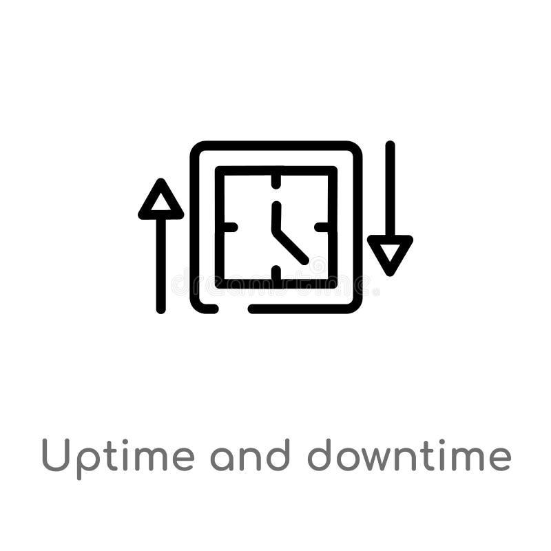 περίληψη uptime και χρόνου διακοπής διανυσματικό εικονίδιο απομονωμένη μαύρη απλή απεικόνιση στοιχείων γραμμών από την έννοια τεχ απεικόνιση αποθεμάτων