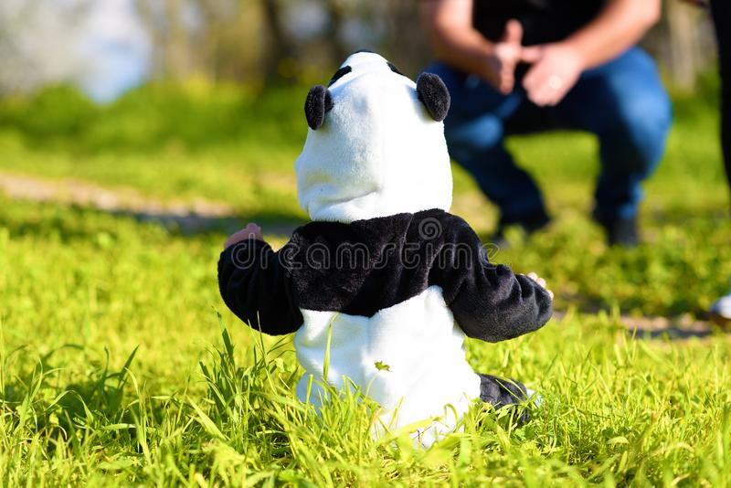 Περίπατοι μπαμπάδων με το μωρό σε ένα κοστούμι panda στο πάρκο στοκ εικόνα με δικαίωμα ελεύθερης χρήσης