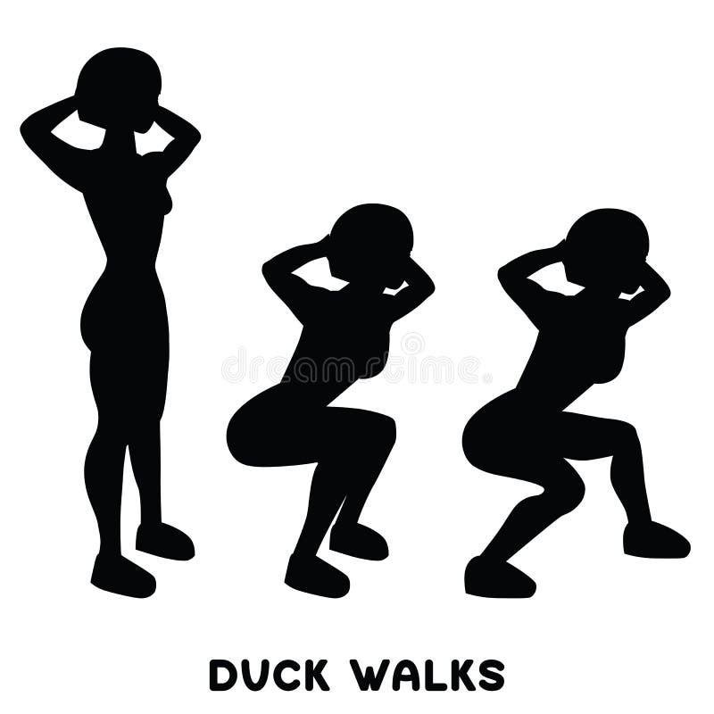 Περίπατοι παπιών squat Αθλητικό exersice Σκιαγραφίες της γυναίκας που κάνουν την άσκηση Workout, κατάρτιση ελεύθερη απεικόνιση δικαιώματος