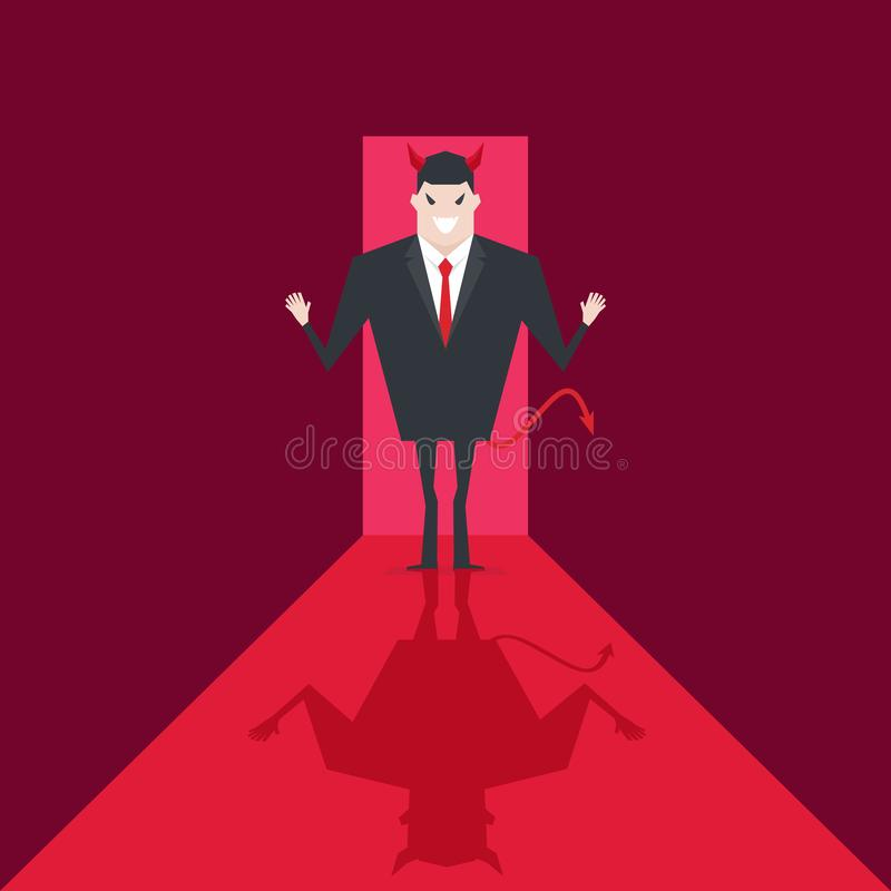 Περίπατος επιχειρηματιών διαβόλων στο γραφείο Η Satan είναι κύρια της κόλασης Lucifer στην επιχείρηση απεικόνιση αποθεμάτων