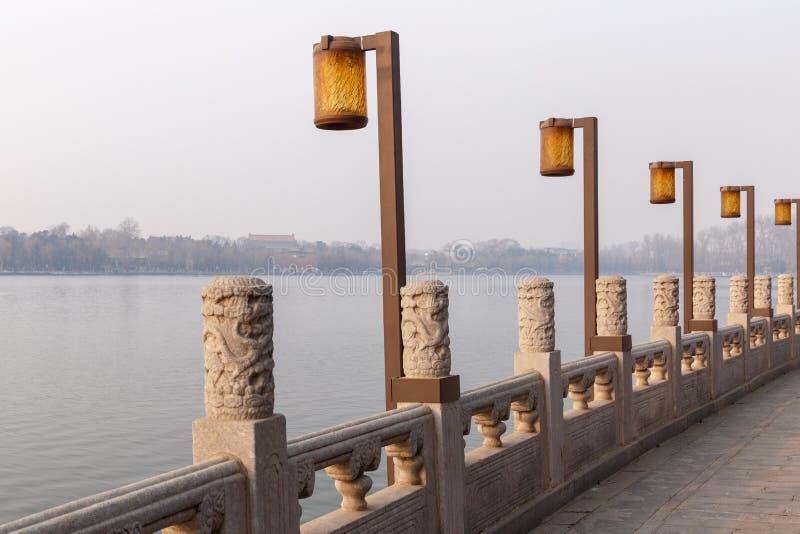 Περίπατος λιμνών πάρκων του Πεκίνου Beihai στοκ φωτογραφίες