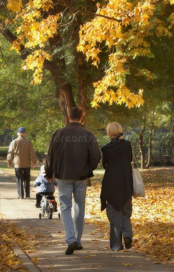 περίπατος πολυμελών οικογενειών Στοκ Εικόνα