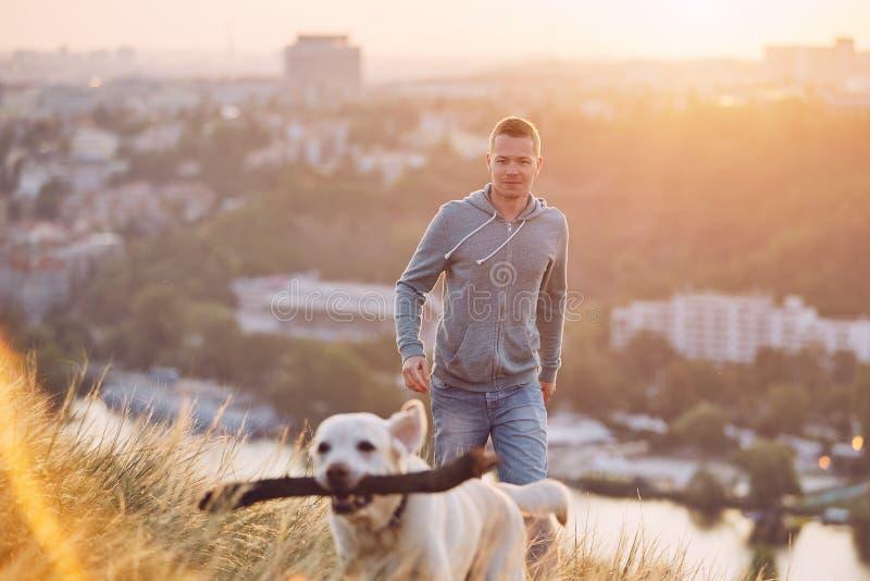 Περίπατος πρωινού με το σκυλί στοκ φωτογραφία