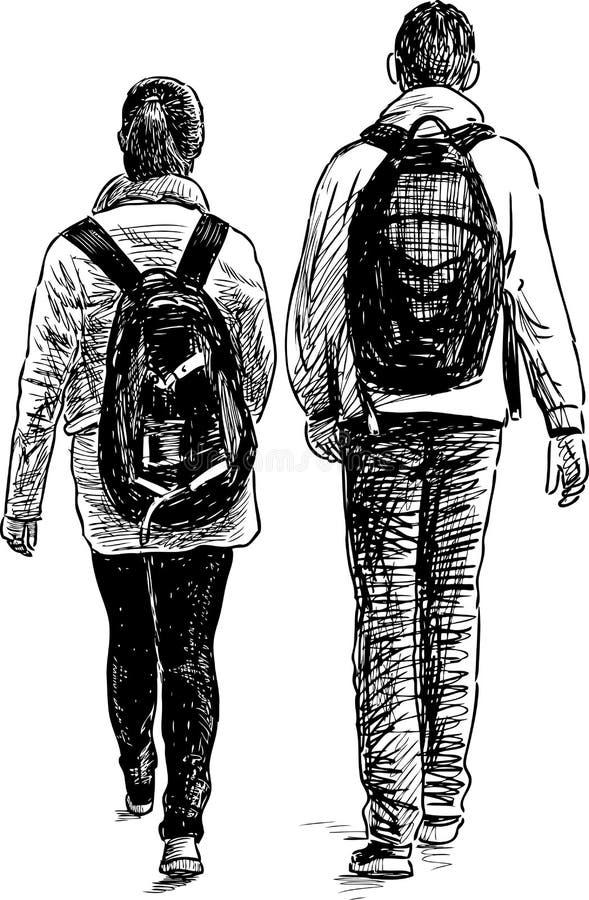 Περίπατος των μαθητών διανυσματική απεικόνιση
