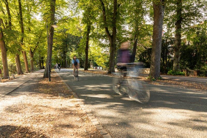 Περίπατος Muenster με τα ποδήλατα και τη θαμπάδα κινήσεων στοκ εικόνες με δικαίωμα ελεύθερης χρήσης