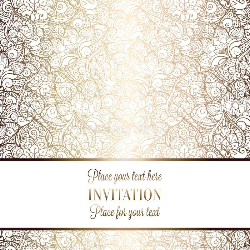Περίπλοκη μπαρόκ κάρτα γαμήλιας πρόσκλησης πολυτέλειας απεικόνιση αποθεμάτων