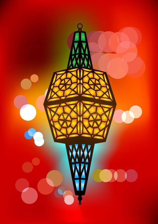 Περίπλοκος αραβικός λαμπτήρας με τα θολωμένα φω'τα ελεύθερη απεικόνιση δικαιώματος
