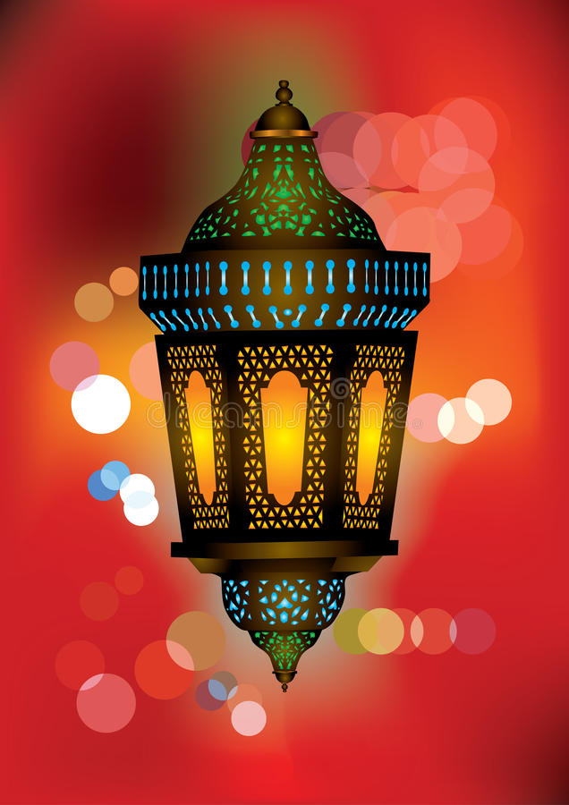 Περίπλοκος αραβικός λαμπτήρας με τα όμορφα φω'τα ελεύθερη απεικόνιση δικαιώματος