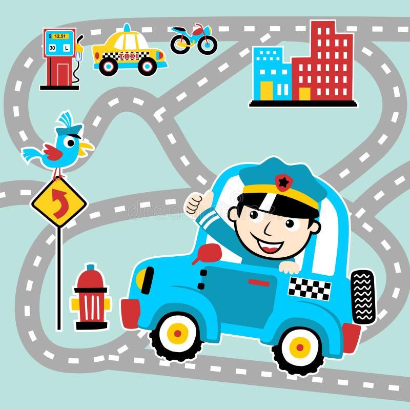 Περίπολος κινούμενων σχεδίων αστυνομίας στο δρόμο πόλεων διανυσματική απεικόνιση