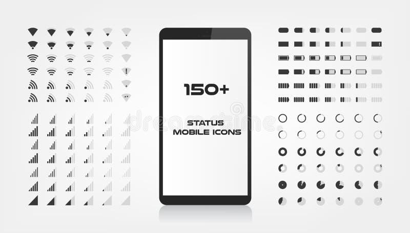 Περίπου 150 εικονίδια διεπαφών Ο κινητός φορτιστής ισχύος της μπαταρίας, το σήμα wifi και το επίπεδο σύνδεσης τραγουδούν το σύνολ διανυσματική απεικόνιση