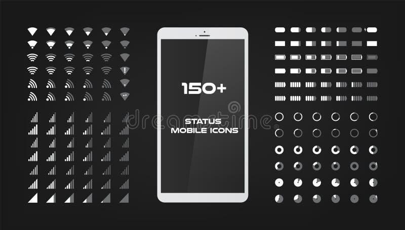 Περίπου 150 εικονίδια διεπαφών Ο κινητός φορτιστής ισχύος της μπαταρίας, το σήμα wifi και το επίπεδο σύνδεσης τραγουδούν το σύνολ απεικόνιση αποθεμάτων