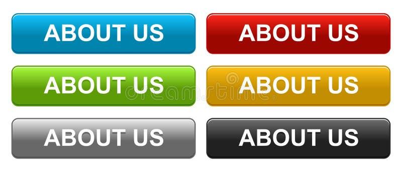 Περίπου εμείς κουμπιά Ιστού στο λευκό ελεύθερη απεικόνιση δικαιώματος
