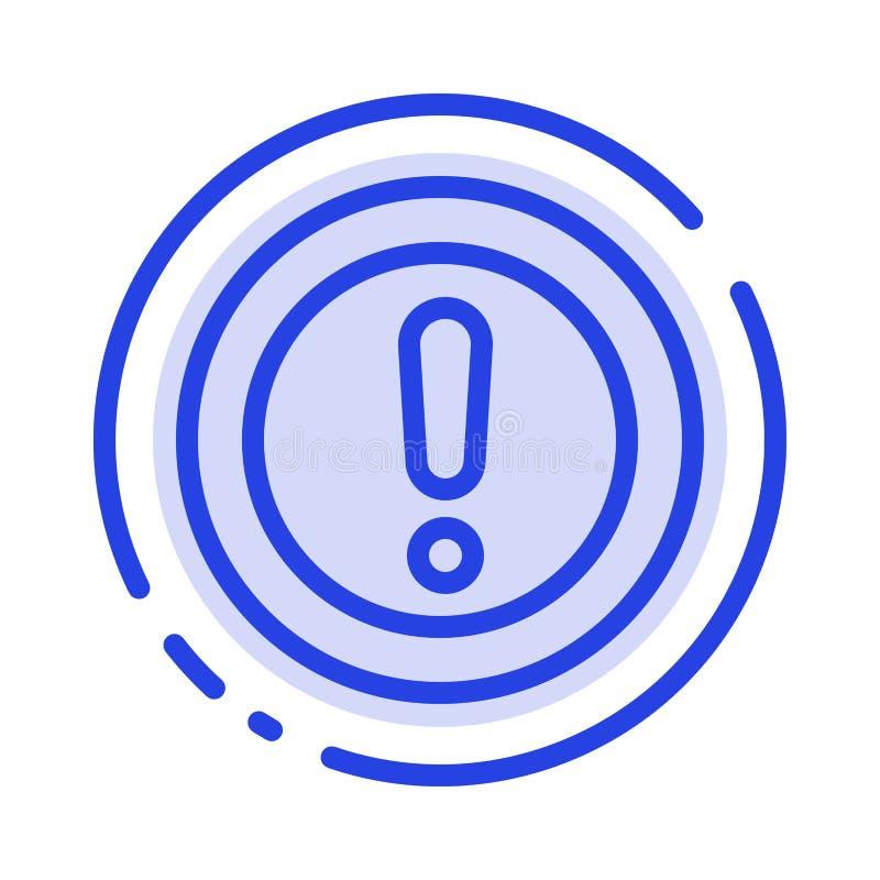 Περίπου, οι πληροφορίες, σημείωση, ερώτηση, υποστηρίζουν το μπλε εικονίδιο γραμμών διαστιγμένων γραμμών ελεύθερη απεικόνιση δικαιώματος