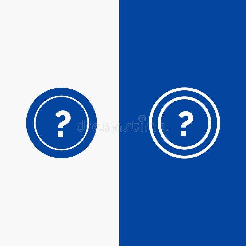 Περίπου, ρωτήστε, πληροφορίες, ερώτηση, γραμμή υποστήριξης και στερεά γραμμή εμβλημάτων εικονιδίων Glyph μπλε και στερεό μπλε έμβ απεικόνιση αποθεμάτων