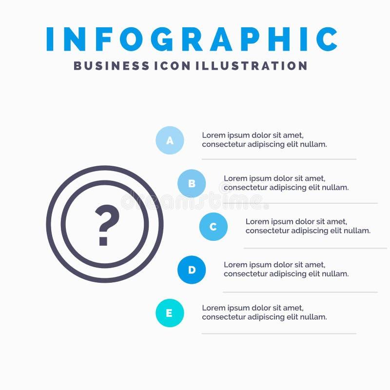 Περίπου, ρωτήστε, πληροφορίες, ερώτηση, εικονίδιο γραμμών υποστήριξης με το υπόβαθρο infographics παρουσίασης 5 βημάτων απεικόνιση αποθεμάτων