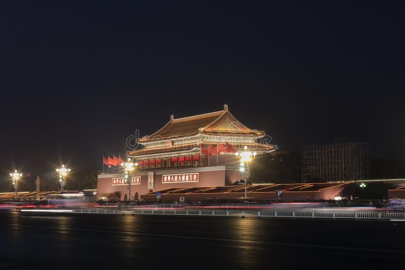 Περίπτερο στο μουσείο παλατιών του Πεκίνου στη νύχτα στοκ φωτογραφία
