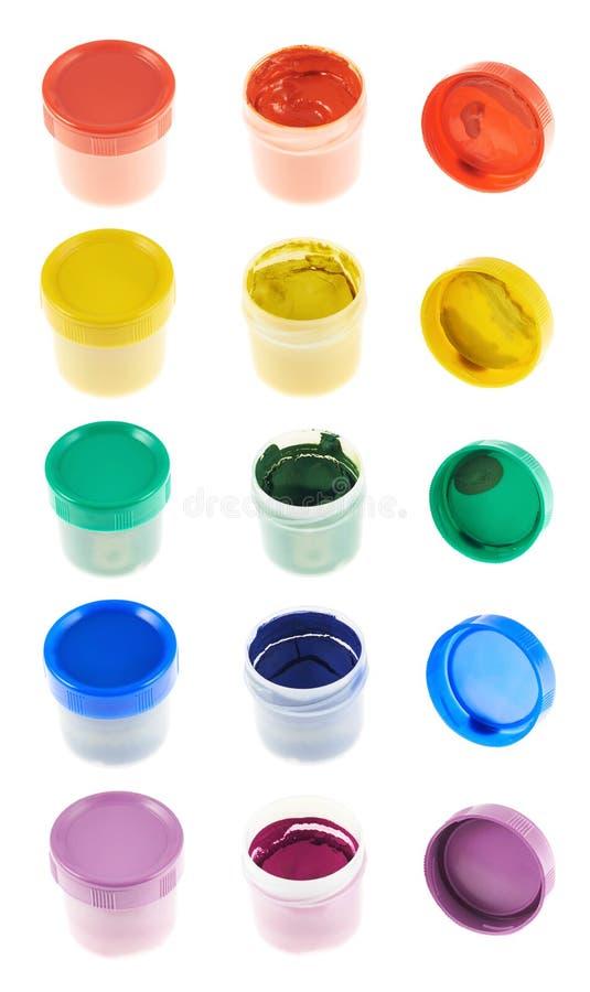 Περίπτωση εμπορευματοκιβωτίων χρωμάτων γκουας που απομονώνεται στοκ φωτογραφία
