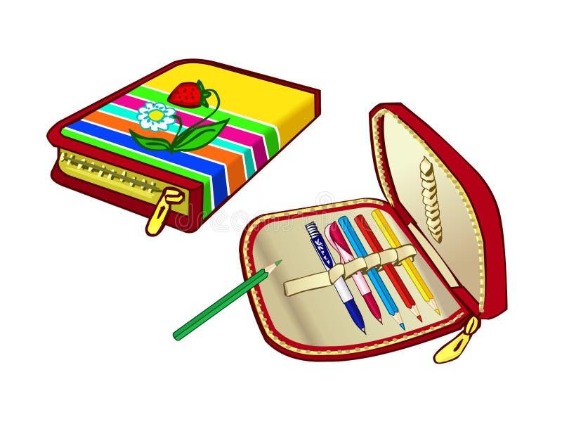 Περίπτωση μολυβιών παιδιών για το σχολείο Πρακτική σακούλα για τους στυλούς και τα χρωματισμένα μολύβια απεικόνιση αποθεμάτων