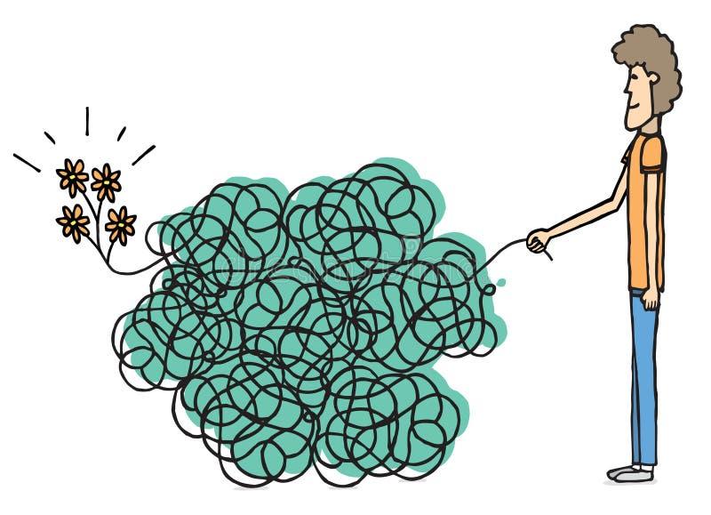 Περίπλοκη αγάπη/ακατάστατα λουλούδια διανυσματική απεικόνιση