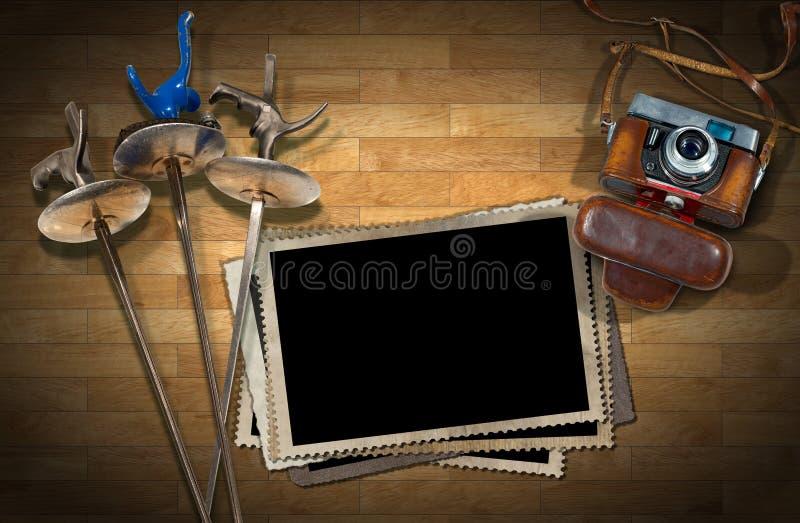 Περίφραξη - παλαιά πλαίσια καμερών και φωτογραφιών διανυσματική απεικόνιση